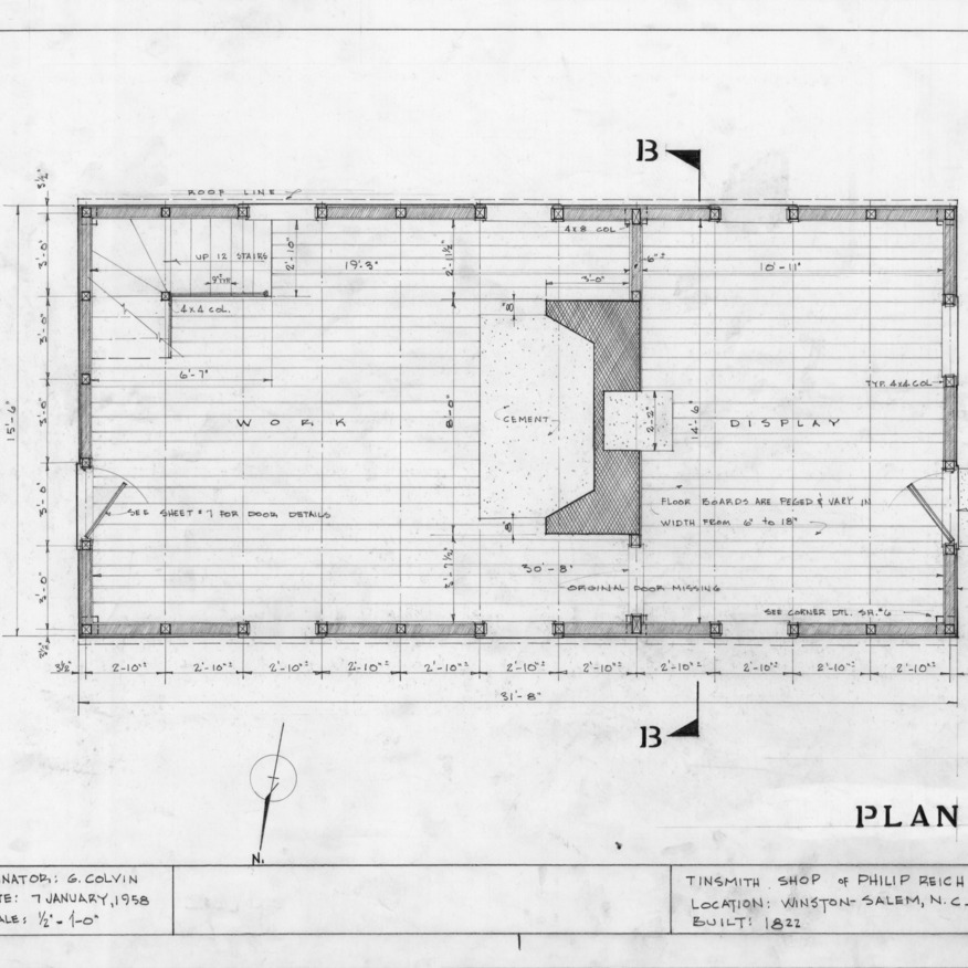 Floor plan, Philip Reich House and Shop, Winston-Salem, North Carolina
