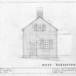 West elevation, Philip Reich House and Shop, Winston-Salem, North Carolina