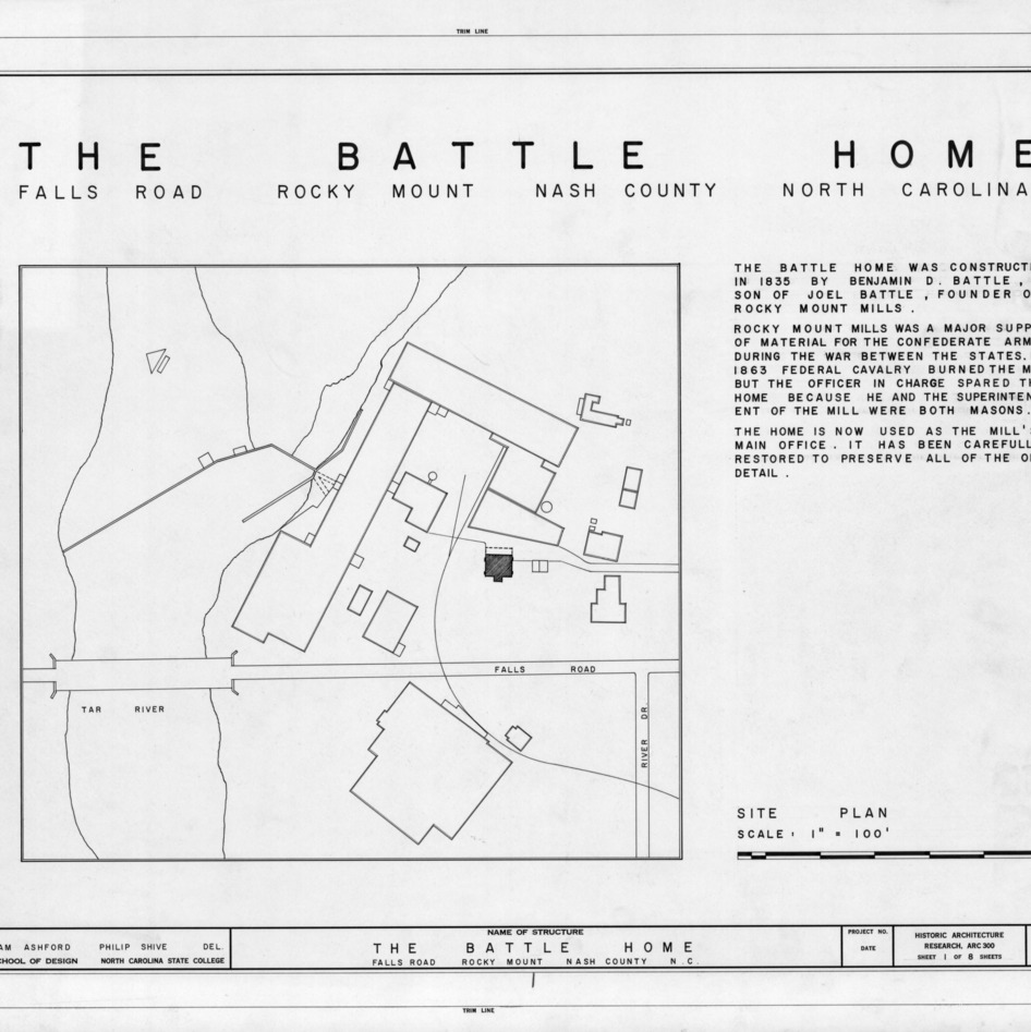 Title page with site plan and notes, Benjamin Battle House, Rocky Mount, North Carolina