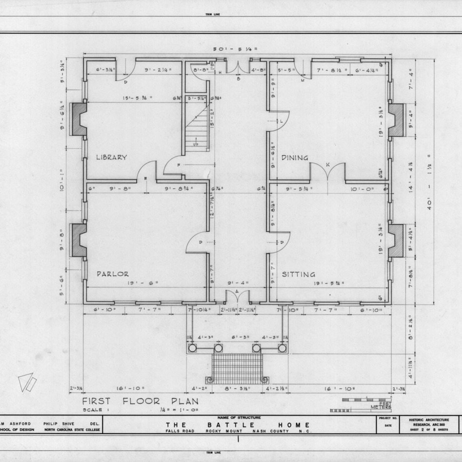First floor plan, Benjamin Battle House, Rocky Mount, North Carolina
