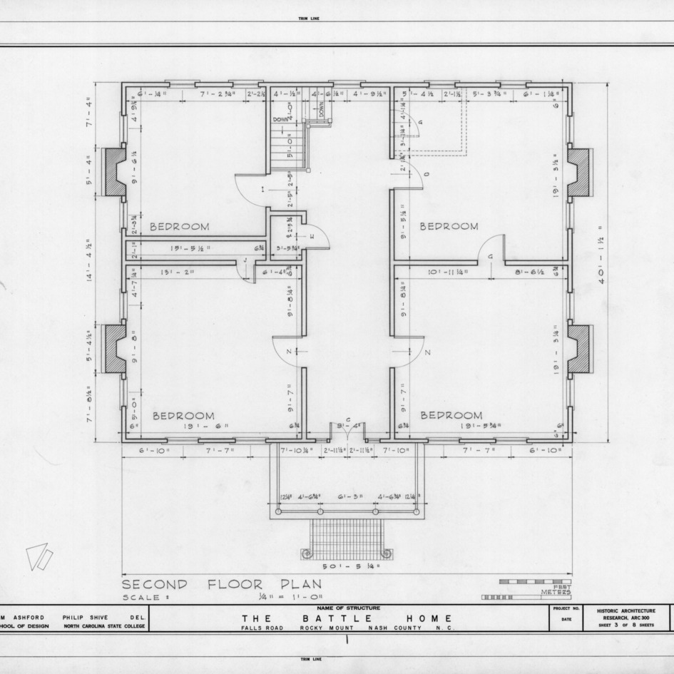 Second floor plan, Benjamin Battle House, Rocky Mount, North Carolina