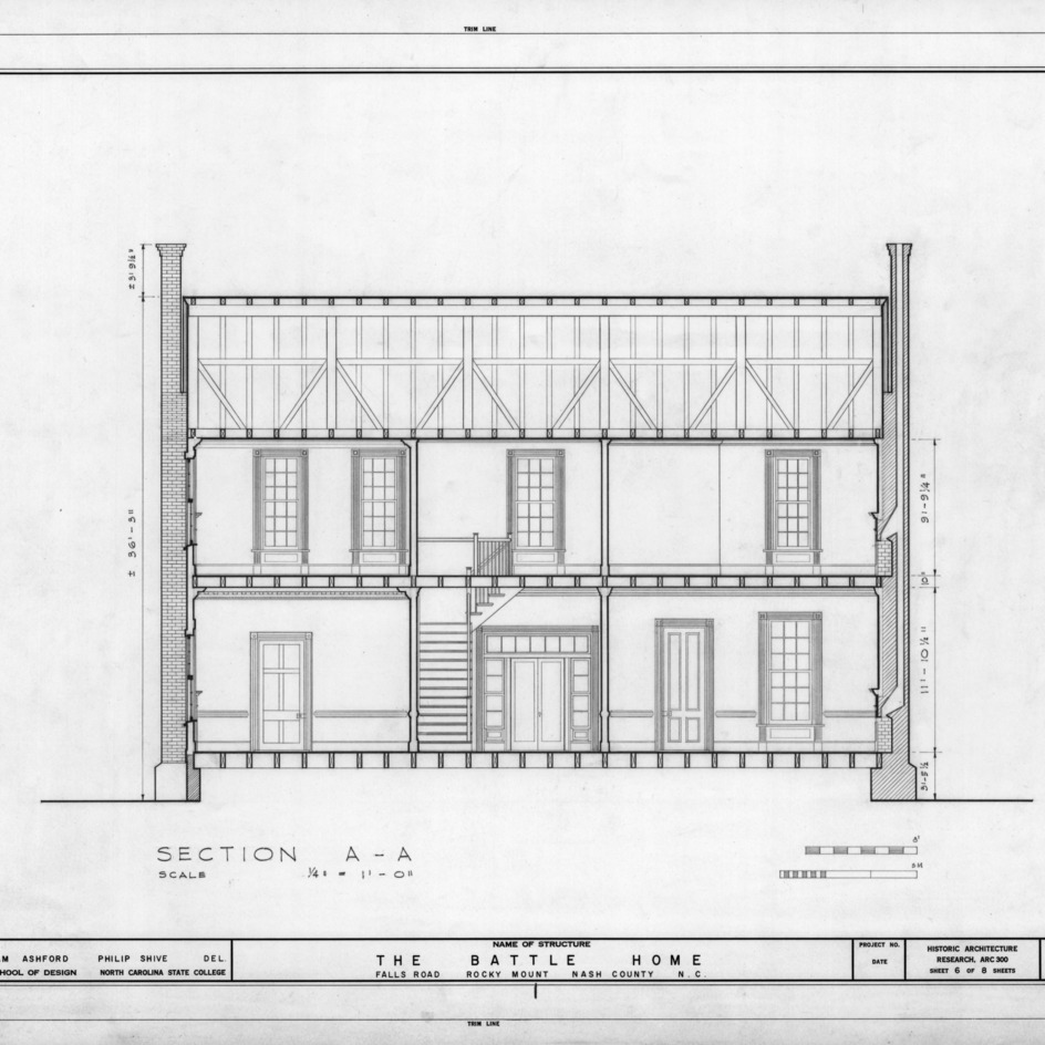 Longitudinal section, Benjamin Battle House, Rocky Mount, North Carolina
