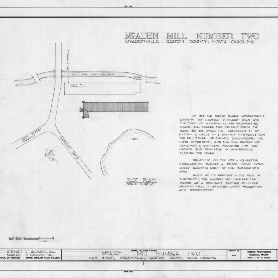 Site plan and notes, McAden Mill No. 2, McAdenville, North Carolina