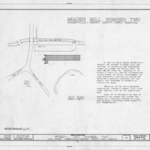 Site plan and notes, McAden Mill No. 2, McAdenville, North Carolina