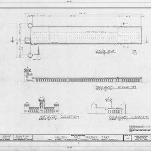 Floor plan and elevations, McAden Mill No. 2, McAdenville, North Carolina