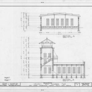 Cross section and partial longitudinal section, McAden Mill No. 2, McAdenville, North Carolina