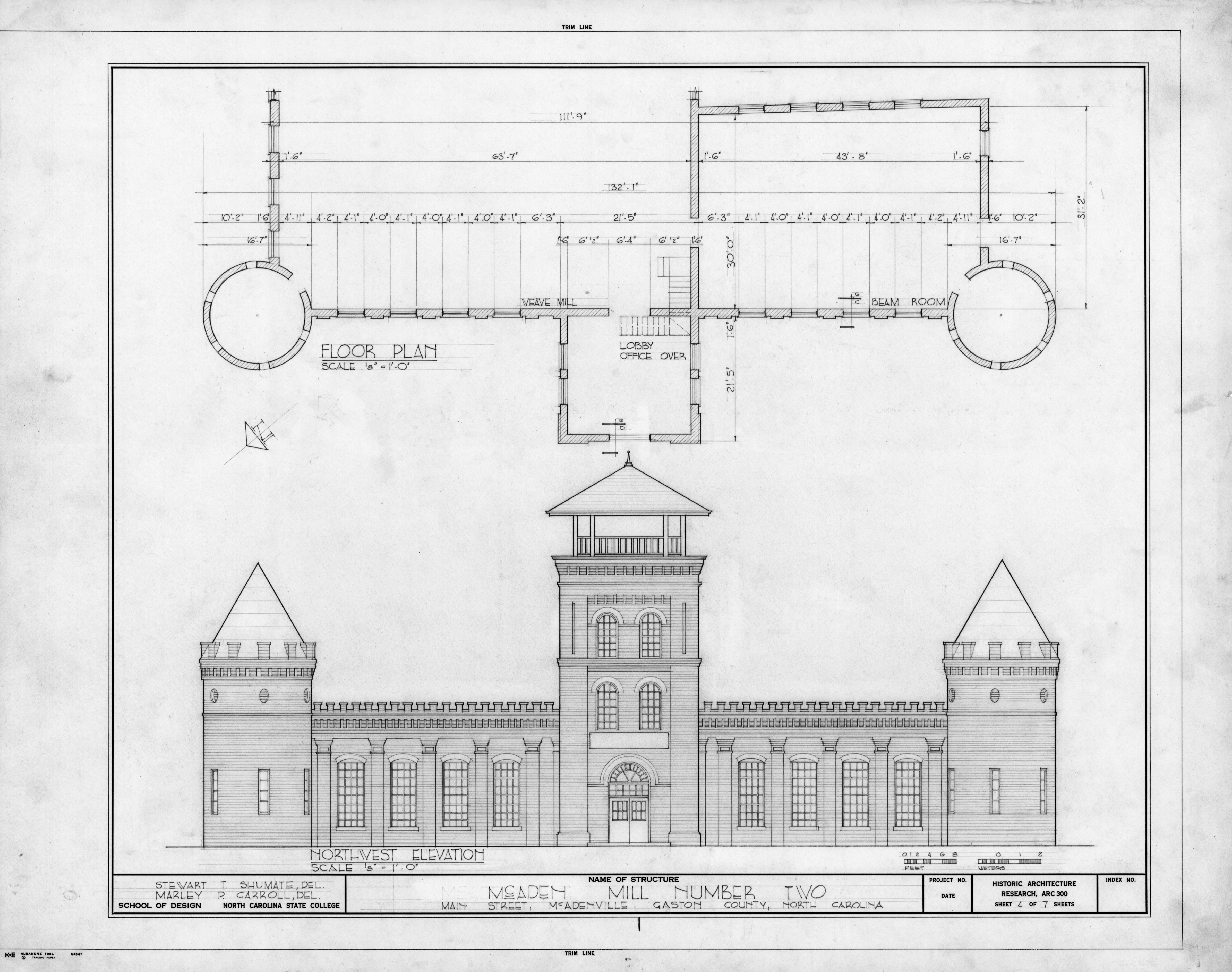 North N Home Plan And Elevation : Northwest elevation and partial floor plan mcaden mill no