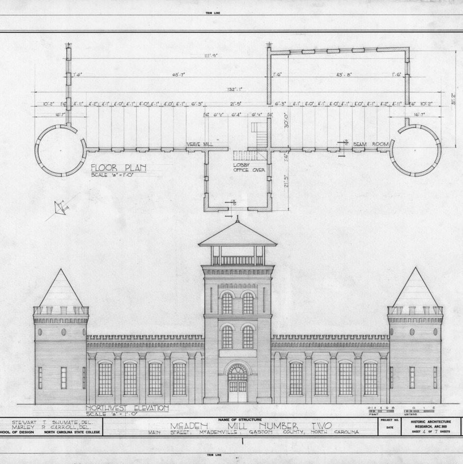 Northwest elevation and partial floor plan, McAden Mill No. 2, McAdenville, North Carolina