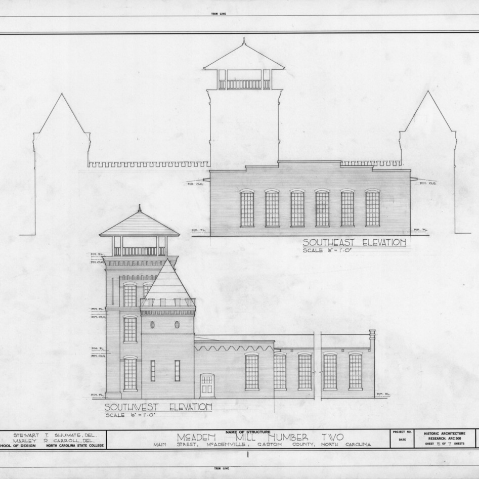 Southeast and southwest elevations, McAden Mill No. 2, McAdenville, North Carolina