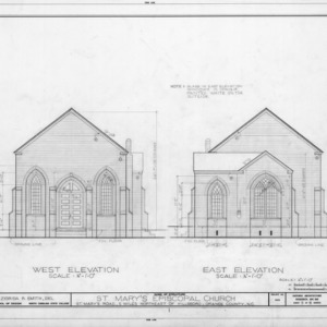 West and east elevations, St. Mary's Episcopal Church, Orange County, North Carolina