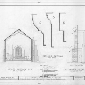 Cross section and details, St. Mary's Episcopal Church, Orange County, North Carolina