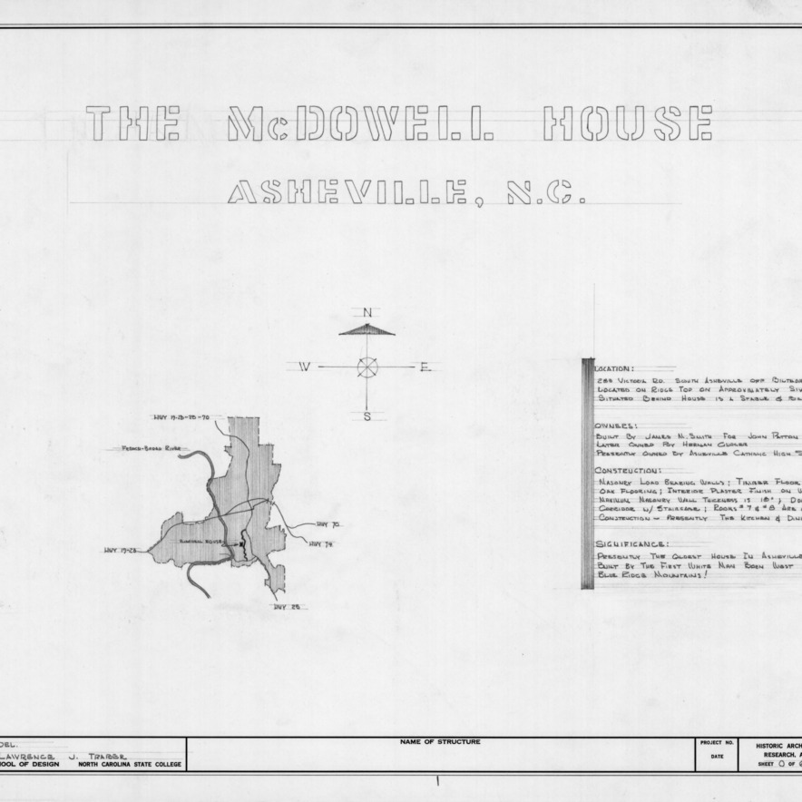 Site plan and notes, Smith-McDowell House, Asheville, North Carolina