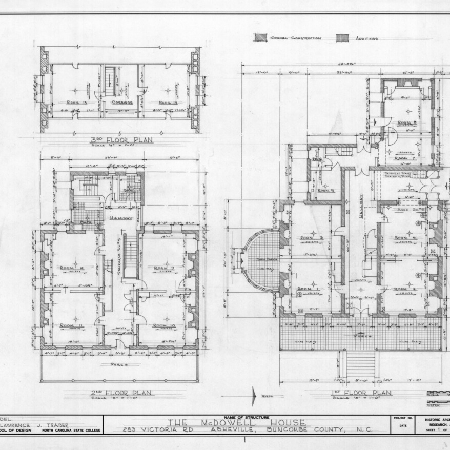 Floor plans, Smith-McDowell House, Asheville, North Carolina
