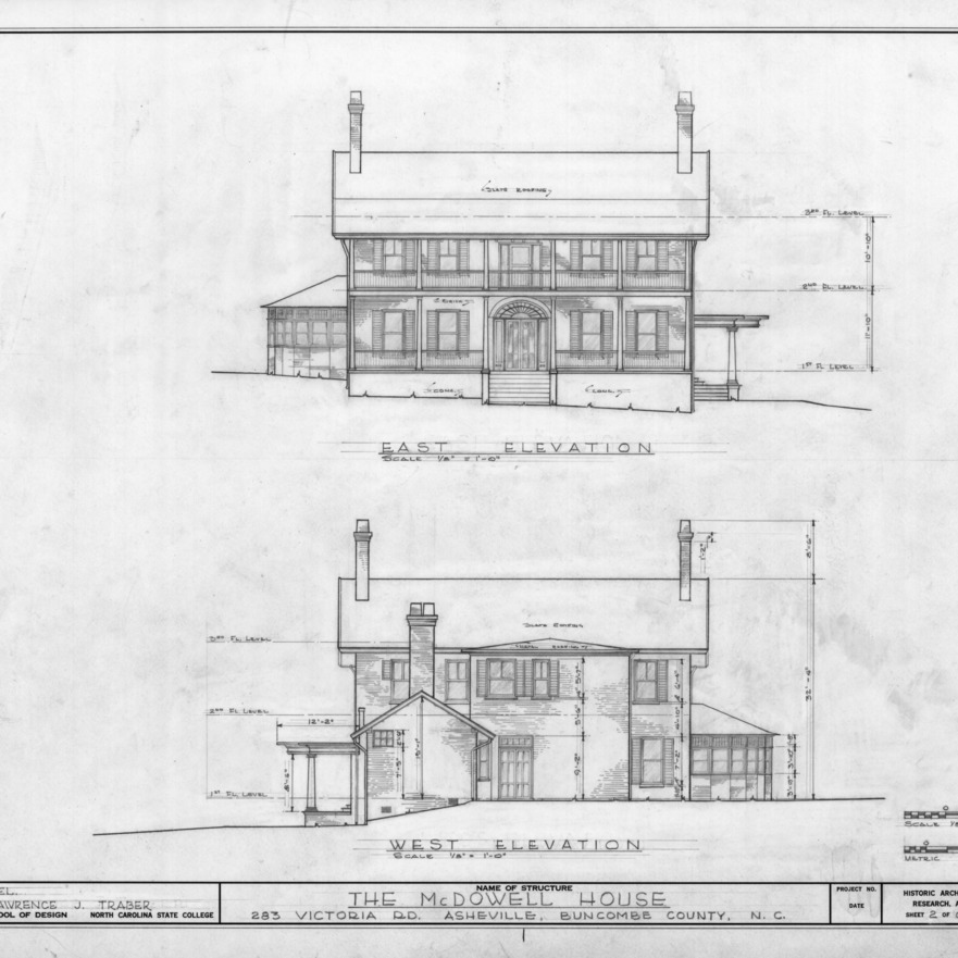 East and west elevations, Smith-McDowell House, Asheville, North Carolina