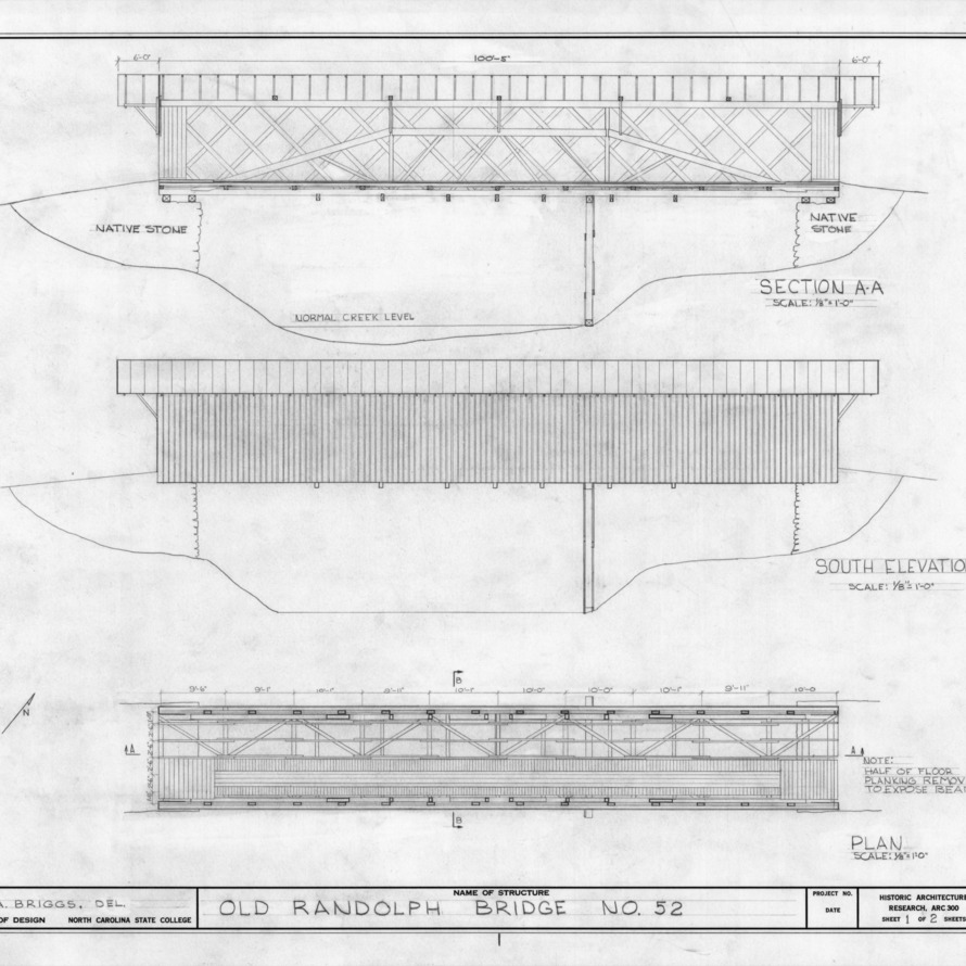 Longitudinal section, south elevation, and floor plan, Randolph Bridge No. 52, Randolph County, North Carolina