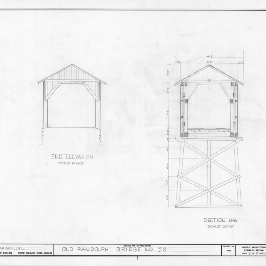 Elevation and cross section, Randolph Bridge No. 52, Randolph County, North Carolina