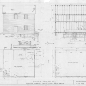 East elevation, longitudinal section, and floor plans, Ramsaur Mill, Gaston County, North Carolina