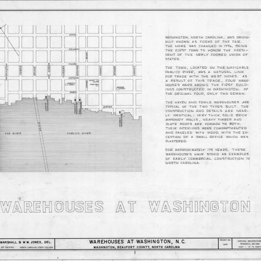 Title page with site plan and notes, Havens and Fowle Warehouses, Washington, North Carolina