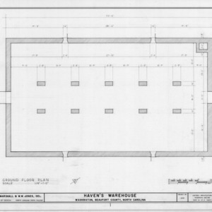 First floor plan, Havens Warehouse, Washington, North Carolina