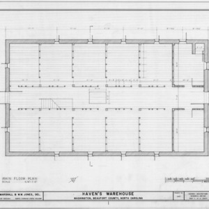 Second floor plan, Havens Warehouse, Washington, North Carolina