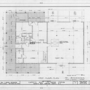 First floor plan, Caffey's Inlet Lifesaving Station, Dare County, North Carolina