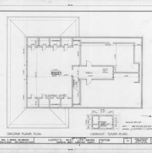 Second floor and lookout plans, Caffey's Inlet Lifesaving Station, Dare County, North Carolina