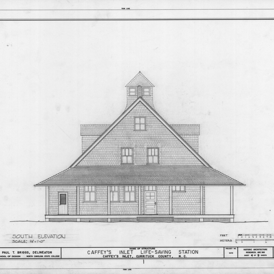 South elevation, Caffey's Inlet Lifesaving Station, Dare County, North Carolina