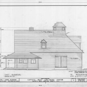 East elevation, Caffey's Inlet Lifesaving Station, Dare County, North Carolina