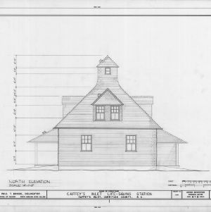 North elevation, Caffey's Inlet Lifesaving Station, Dare County, North Carolina