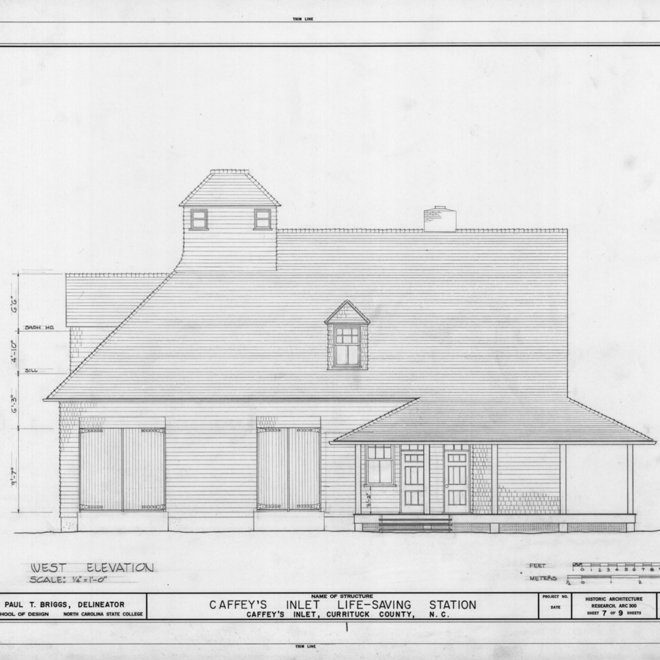 West elevation, Caffey's Inlet Lifesaving Station, Dare County, North Carolina