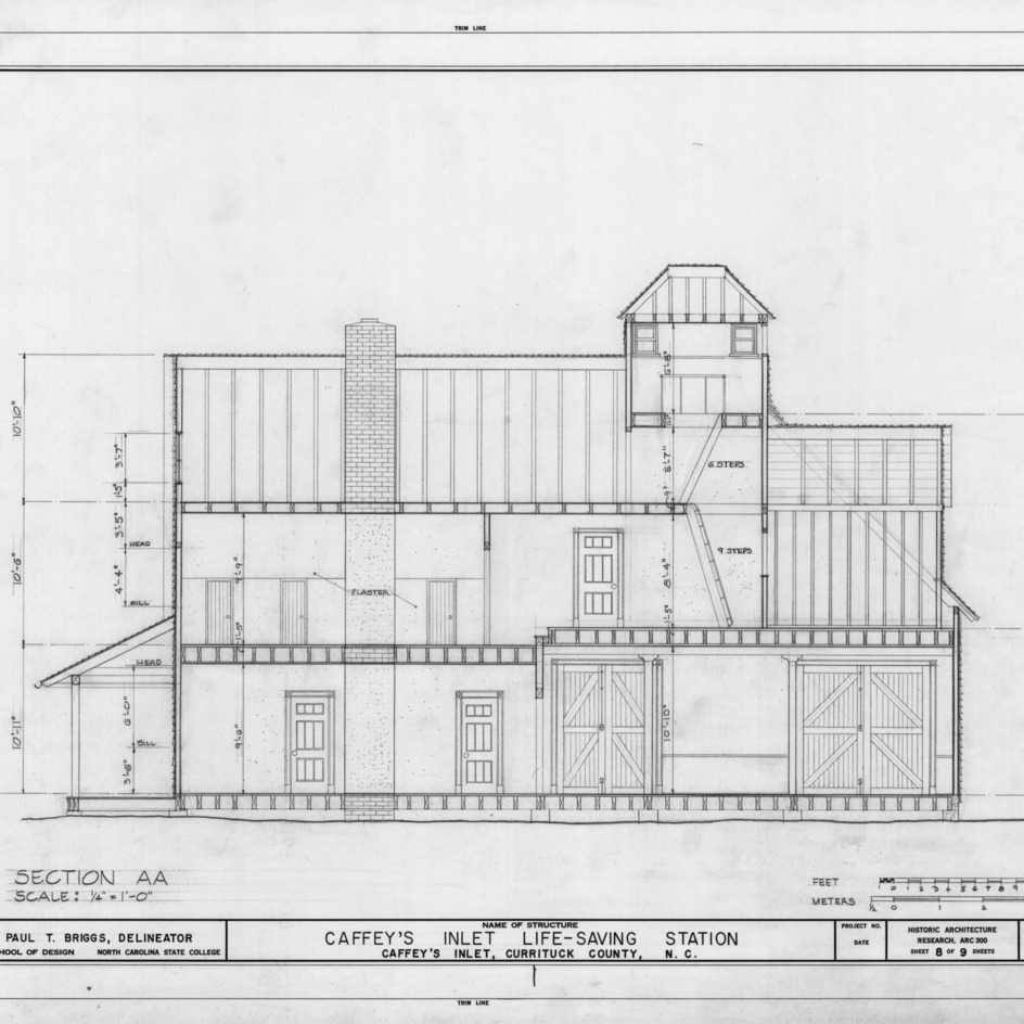 Longitudinal section, Caffey's Inlet Lifesaving Station, Dare County, North Carolina