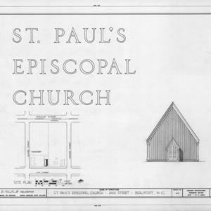 Title page with site plan, St. Paul's Episcopal Church, Beaufort, North Carolina