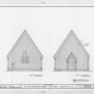 North and south elevations, St. Paul's Episcopal Church, Beaufort, North Carolina