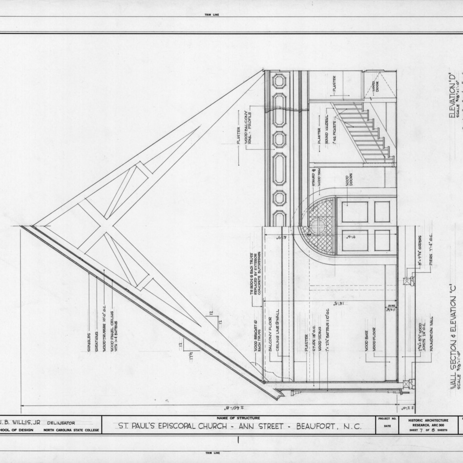 Interior sectional elevation, St. Paul's Episcopal Church, Beaufort, North Carolina