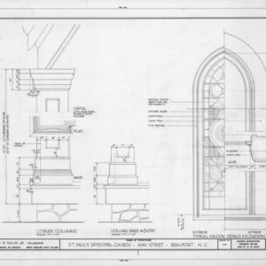 Column and window details, St. Paul's Episcopal Church, Beaufort, North Carolina