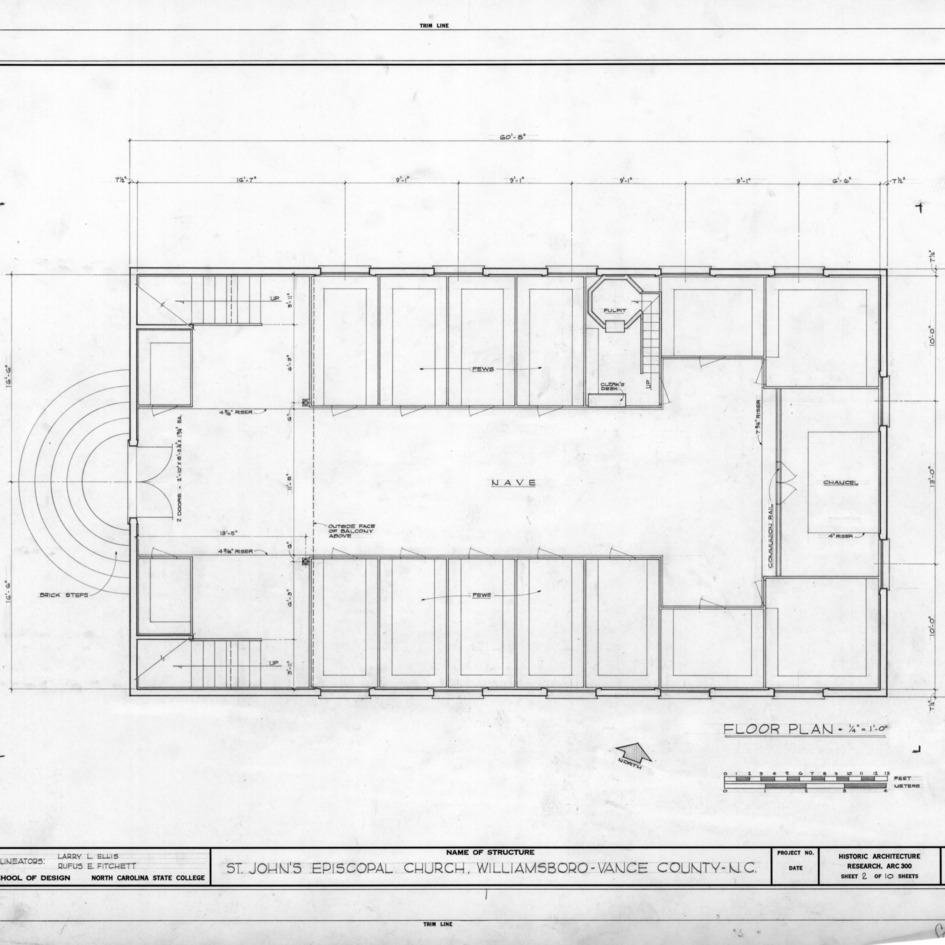 Floor plan, St. John's Episcopal Church, Williamsboro, North Carolina