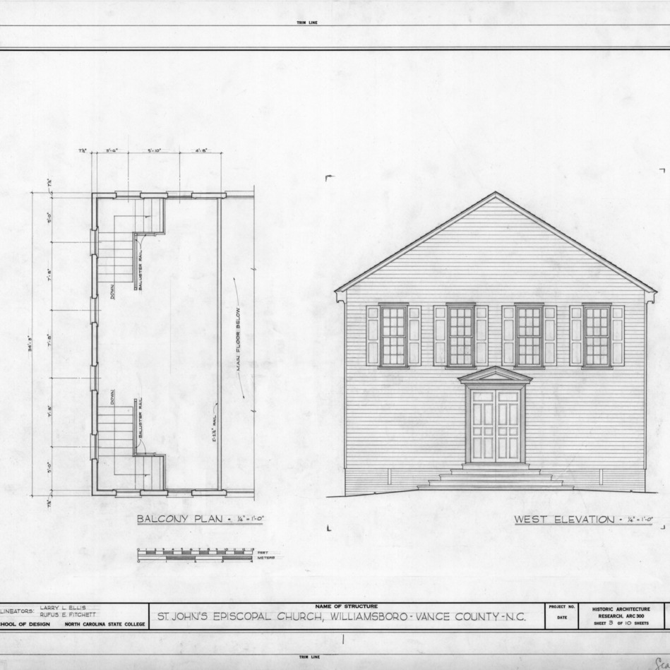 Balcony plan and west elevation, St. John's Episcopal Church, Williamsboro, North Carolina