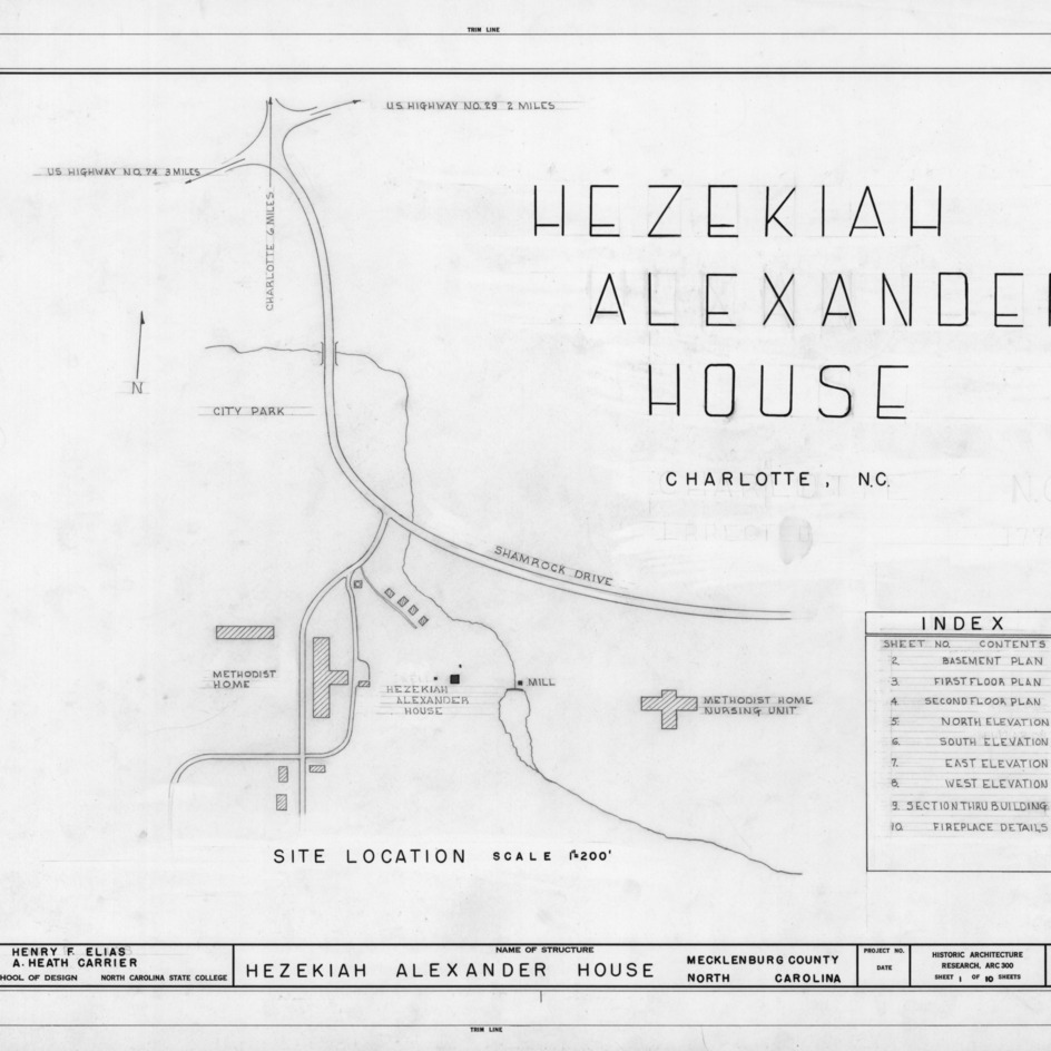 Title page with site plan, Hezekiah Alexander House, Mecklenburg County, North Carolina