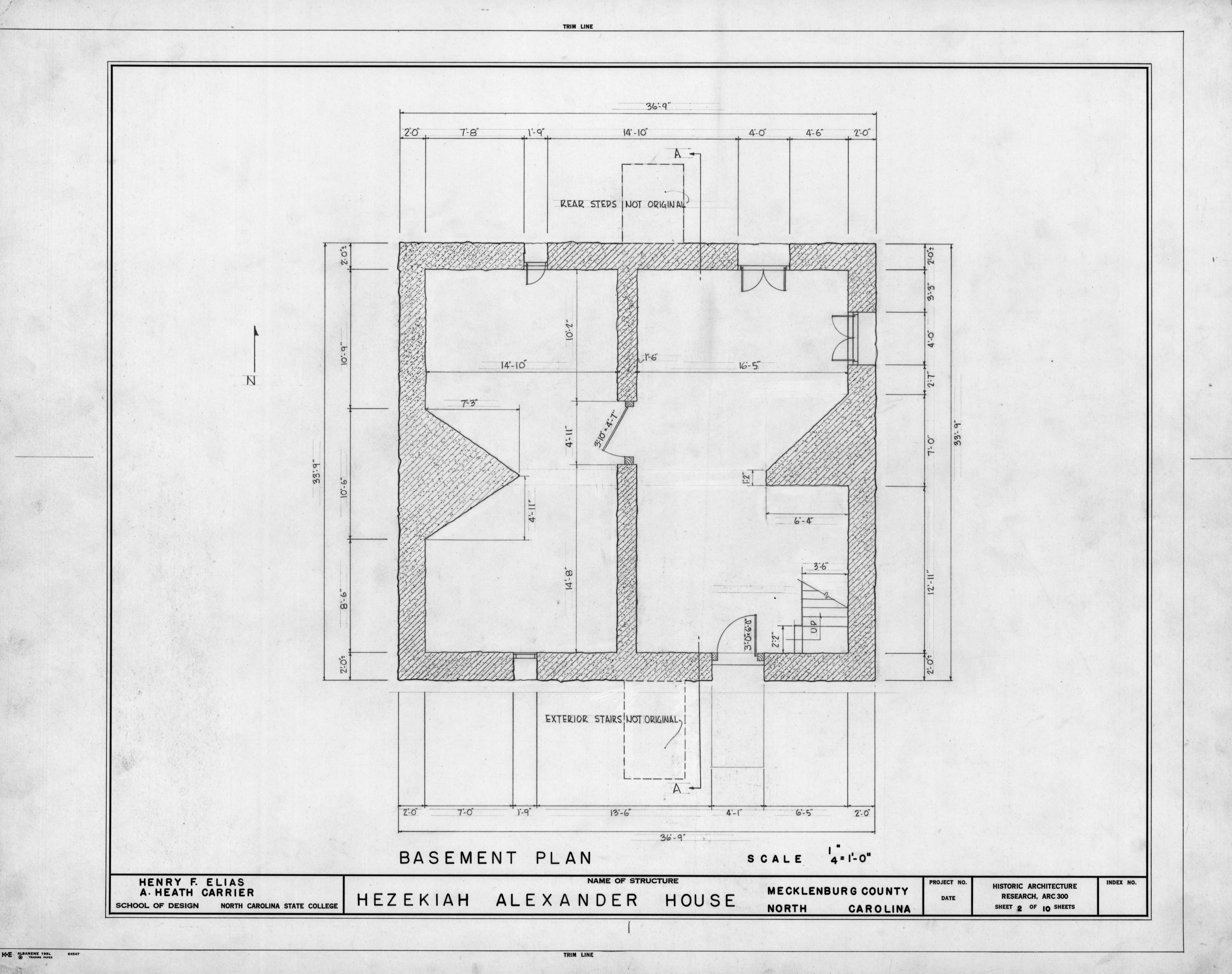 Basement Plan Hezekiah Alexander House Mecklenburg