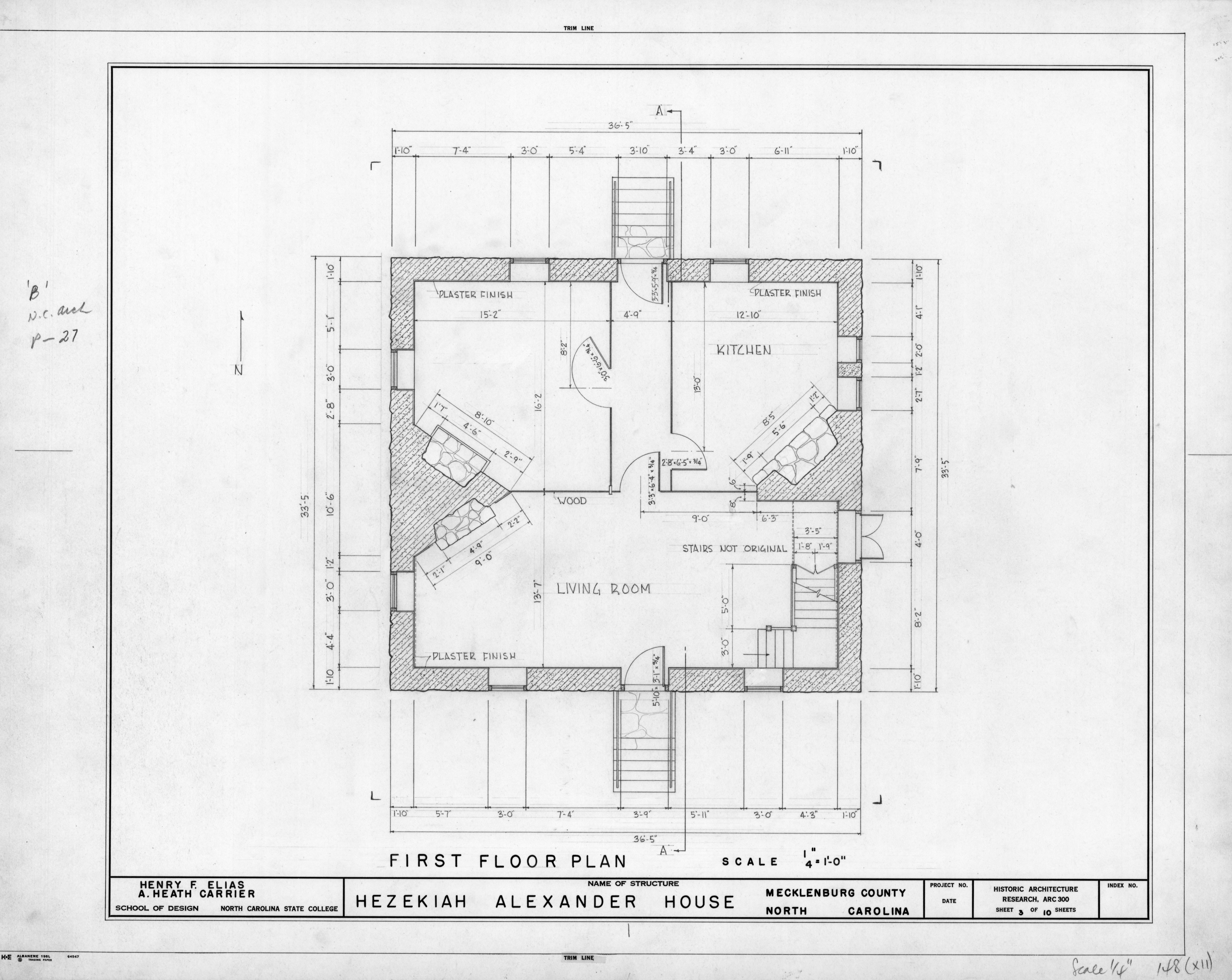 First Floor Plan Hezekiah Alexander House Mecklenburg