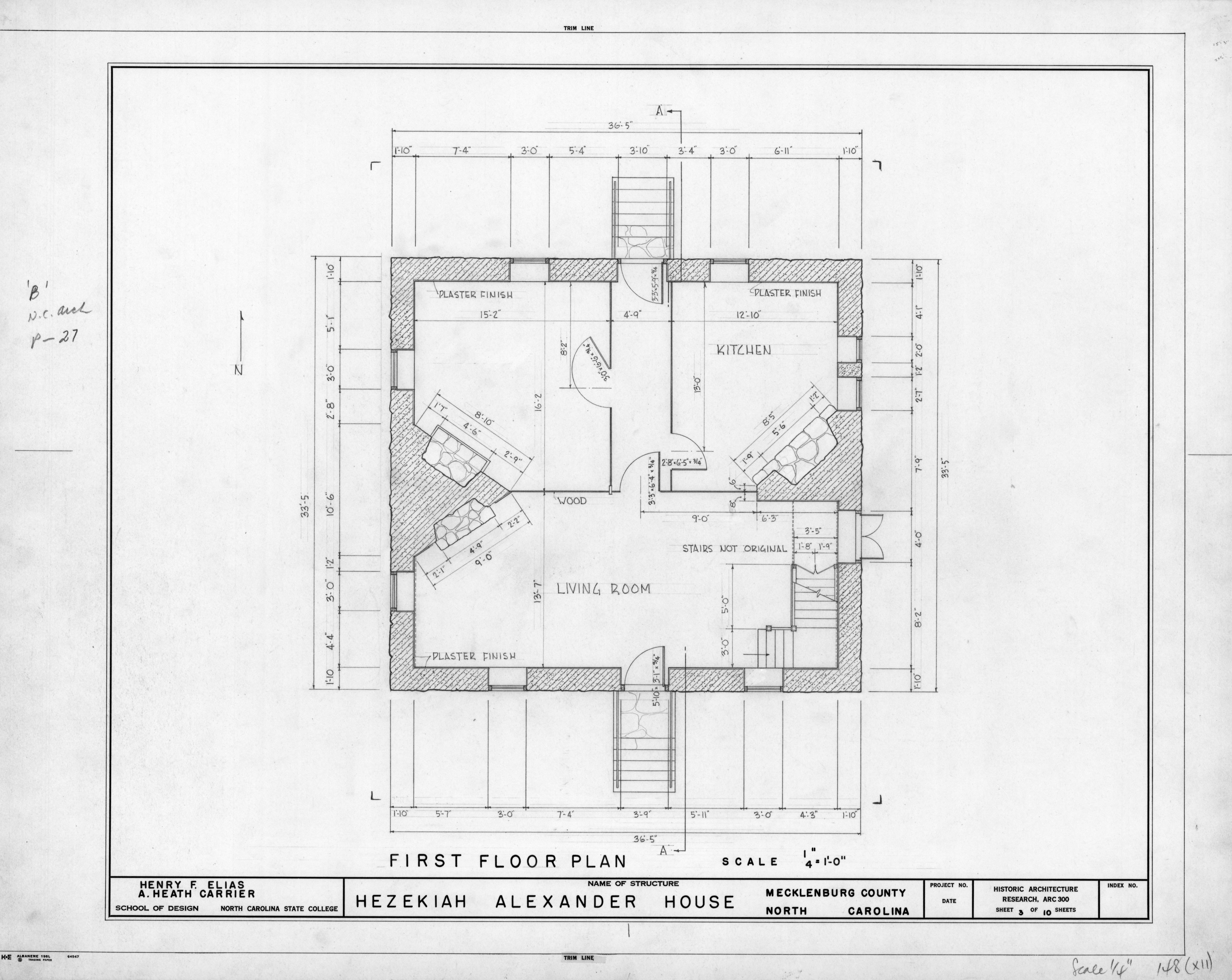 First Floor Plan Hezekiah Alexander House Mecklenburg