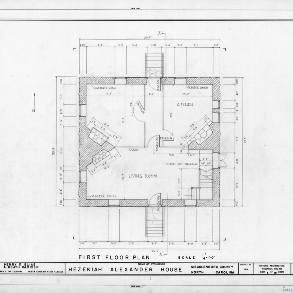 First floor plan, Hezekiah Alexander House, Mecklenburg County, North Carolina