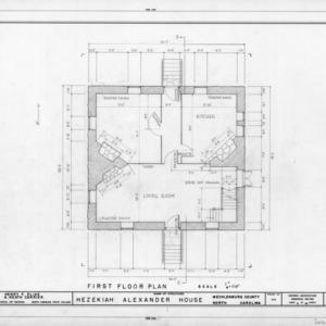 First floor plan, Hezekiah Alexander House, Mecklenburg County, North Carolina