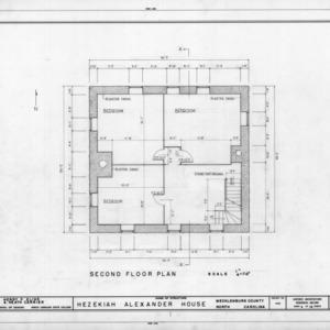 Second floor plan, Hezekiah Alexander House, Mecklenburg County, North Carolina