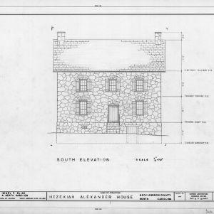 South elevation, Hezekiah Alexander House, Mecklenburg County, North Carolina
