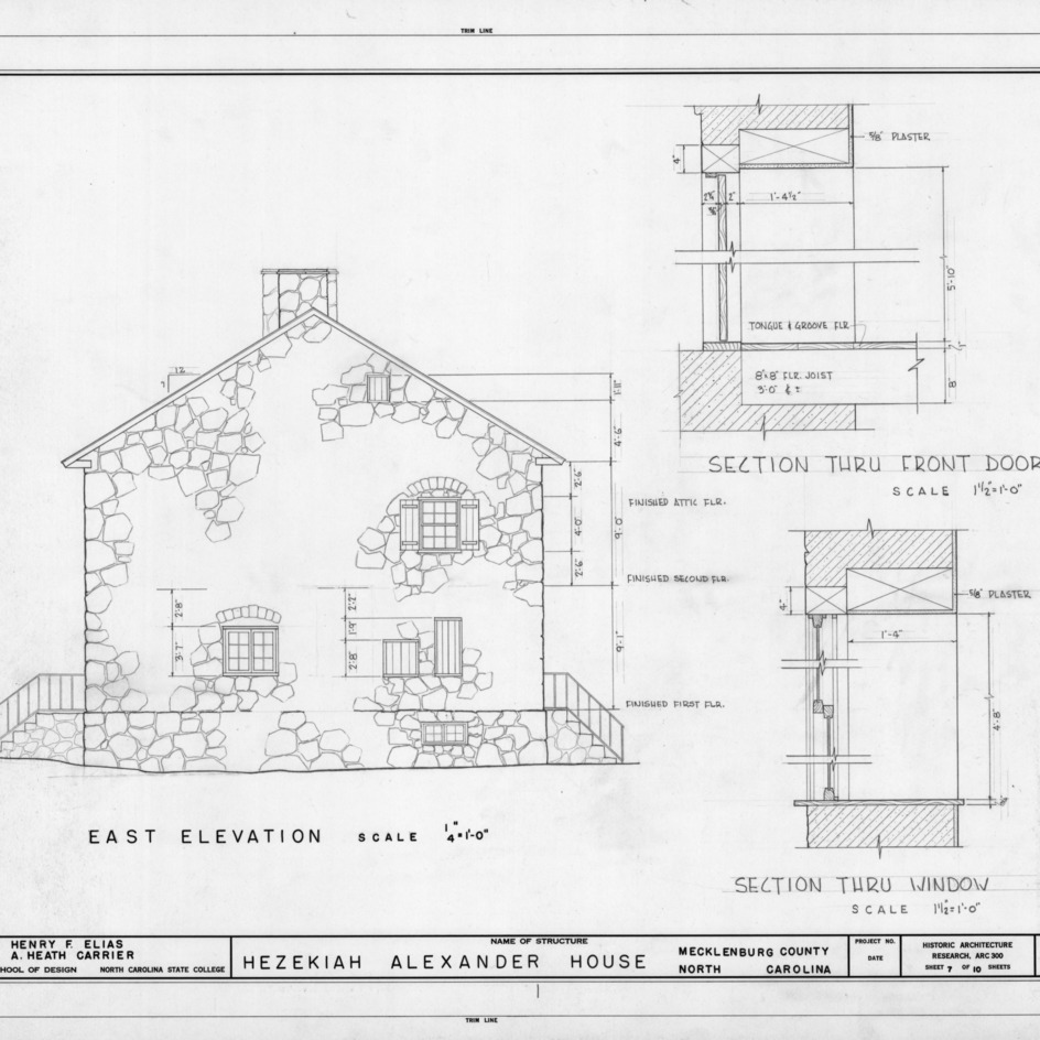 East elevation and section details, Hezekiah Alexander House, Mecklenburg County, North Carolina
