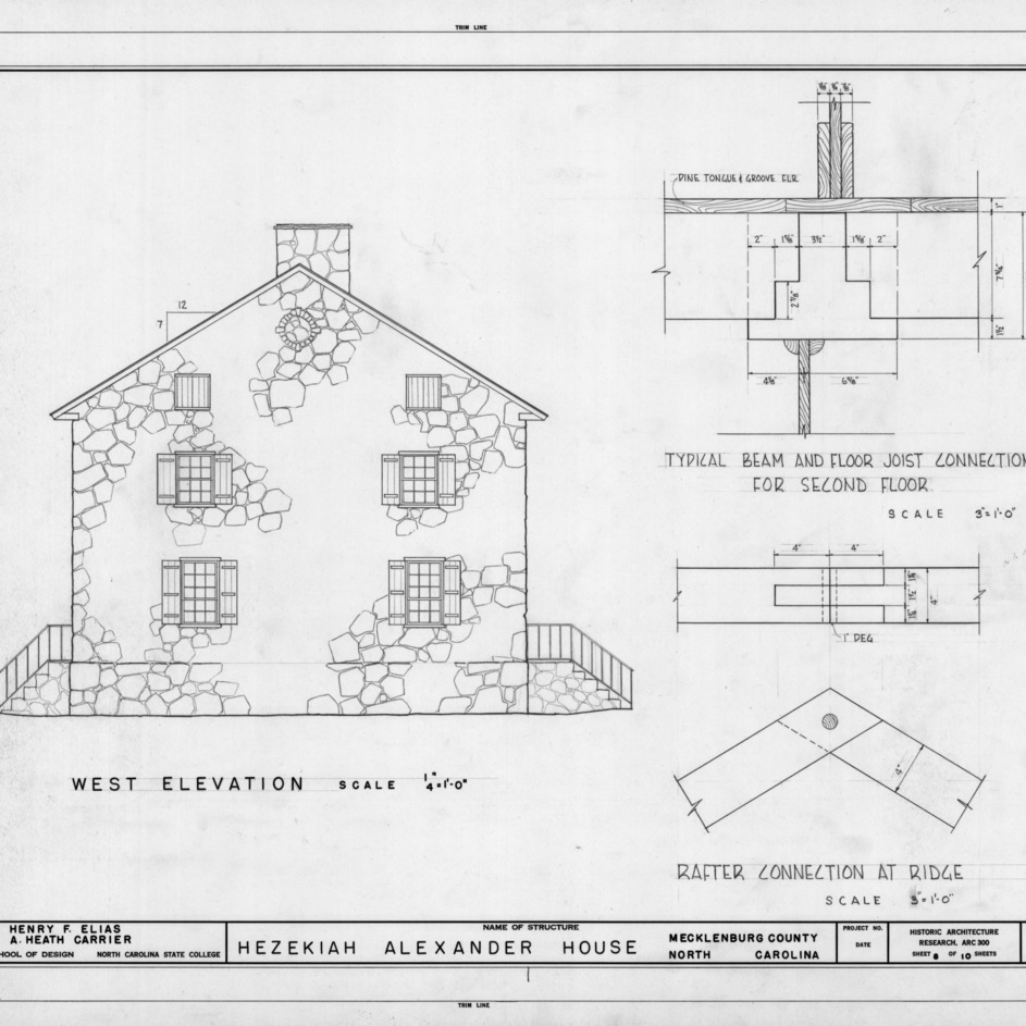 West elevation and construction details, Hezekiah Alexander House, Mecklenburg County, North Carolina