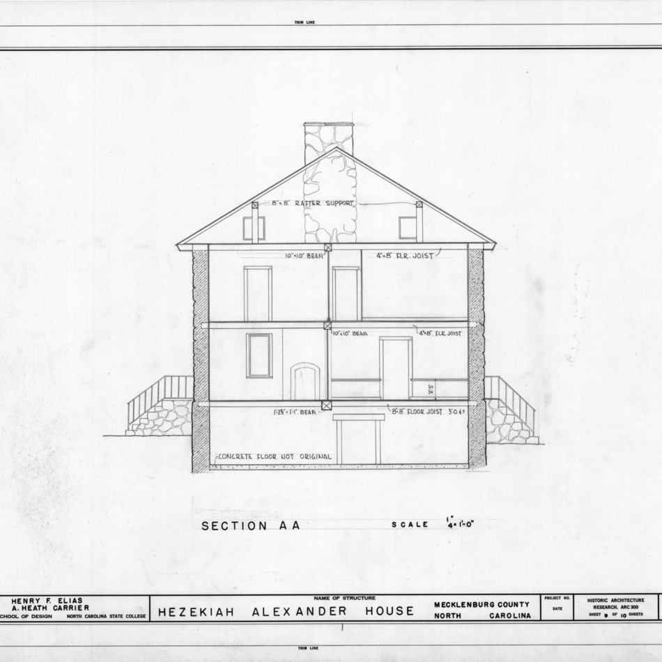 Cross section, Hezekiah Alexander House, Mecklenburg County, North Carolina
