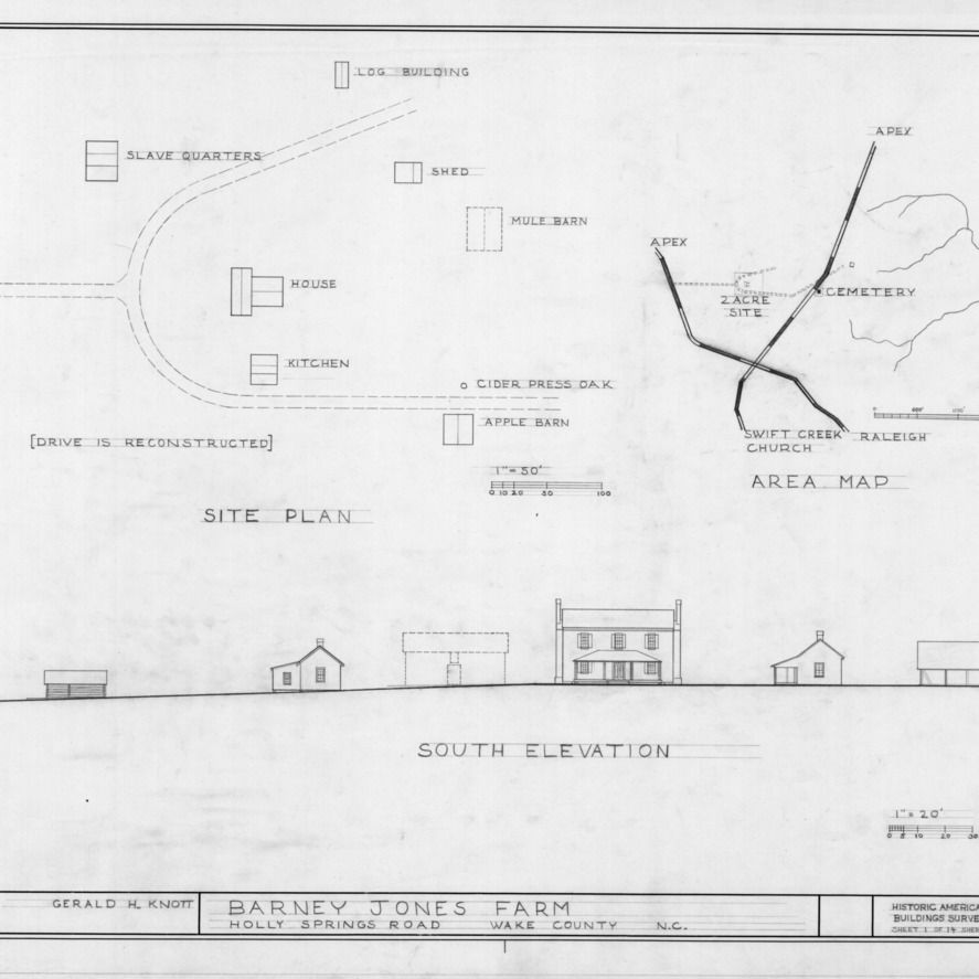 Site plan and location map, Barnabus Jones House, Wake County, North Carolina