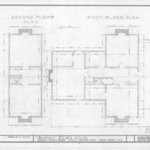 Floor plans, Barnabus Jones House, Wake County, North Carolina